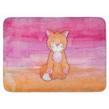Yolanda Orange Cat Watercolor Memory Foam Bath Rug