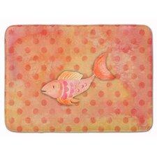 Orange Fish Watercolor Memory Foam Bath Rug