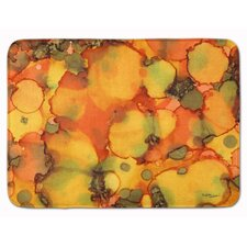 Green/Orange Abstract Memory Foam Bath Rug