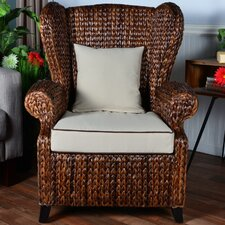 Averi Indoor/Outdoor Rattan Rolled Wingback Chair with Cushion