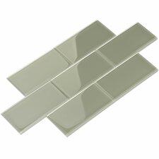 """3"""" x 6"""" Glass Subway Tile in Light Gray"""