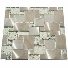 Venetian Random Sized Glass and Metal Mosaic Tile in Silver