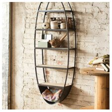 Metal and Wood Oval Wall Floating Shelf