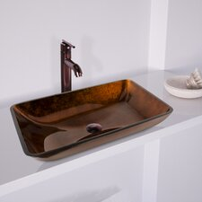 Russet Glass Rectangula Vessel Bathroom Sink