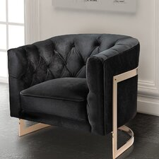 Botkin Frame Tufted Stainless Steel Barrel Chair