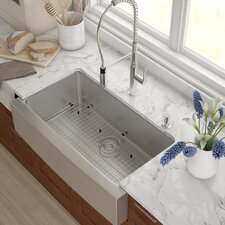 "Stainless Steel 35.88"" x 20.75"" Farmhouse Kitchen Sink with NoiseDefend™ Soundproofing Rectangular  Bathroom Sink"