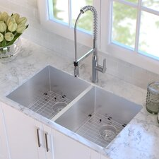 "32.75"" x 19"" Double Basin Undermount Kitchen Sink with NoiseDefend™ Soundproofing"