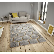 Noble House Hand-Tufted Grey/Yellow Area Rug