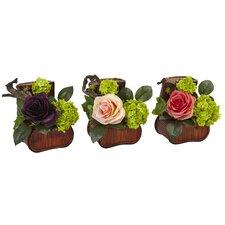 Silk Rose Floral Arrangement in Planter (Set of 3)