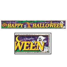 Halloween Metallic Happy Halloween Fringe Banner