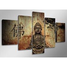 5-tlg. Leinwandbilder-Set Buddha