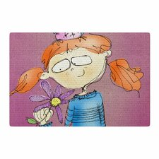 Carina Povarchik Cute Girl With an Owl Pet Magenta Kids Pink/Purple Area Rug