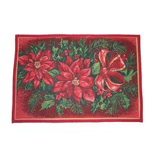 Seasonal Poinsettia Design Red Novelty Rug
