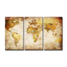 3-tlg. Leinwandbild-Set Akrima World Map
