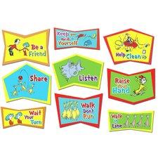 9 Piece Dr. Seuss Classroom Rules Bulletin Board Cut Out Set