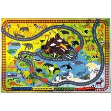 Weranna Animal Safari Road Map Educational Learning Yellow/Blue Indoor/Outdoor Area Rug