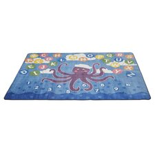 Olive the Octopus Blue Area Rug