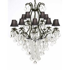 Riverport Wrought Iron 15-Light Crystal Chandelier