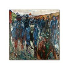 'Workers On Their Way Home' by Edvard Munch Print on Wrapped Canvas