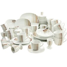 Square Modern 62 Piece Dinnerware Set, Service for 6