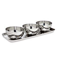 Stainless Steel Hammered Tray and Bowls