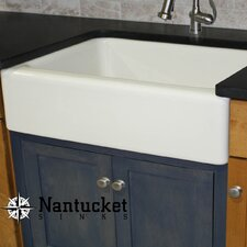 """Cape 29.75"""" x 18"""" Fireclay Farmhouse Kitchen Sink Offset Drain with Grid"""