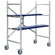 4.02' H x 42.5'' W x 21.5'' D Aluminum Contractor Series Mini Rolling Scaffolding with 250 lb. Load Capacity Type I Duty Rating