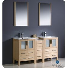 "Torino 60"" Double Modern Sink Bathroom Vanity Set with Mirror"