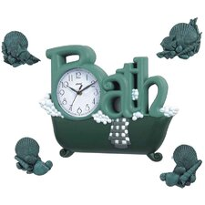 Bath Wall Clock in Green with Four Décor