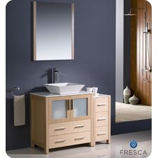 "Torino 42"" Single Modern Bathroom Vanity Set with Mirror"