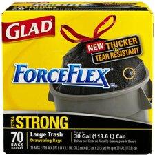 (70 per Carton) 30 Gallon Drawstring Force Flex Trash Bags in Black