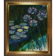 'Water Lilies and Agapanthus' by Claude Monet Framed Oil Painting Print on Canvas