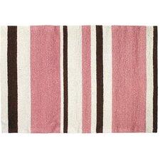 Modern Pink/Brown Stripe Hook Area Rug