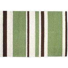 Modern Green/Brown Stripe Hook Rug