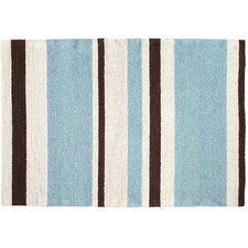 Modern Blue/Brown Striped Hook Rug