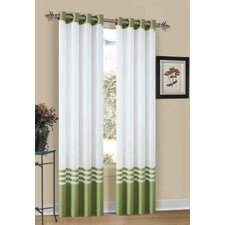 Elizabeth Striped Sheer Grommet Single Curtain Panel