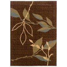 Opulence Leaf and Sprig Design Light Brown/Light Moss Area Rug