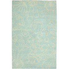 Avant Garde Hand-Knotted Wool Skyblue Floral Area Rug