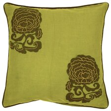 Fringed in Floral Cotton Throw Pillow