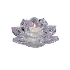 Lotus Glass Tea Light Candle Holder