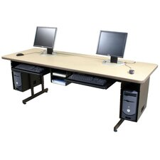 Height Adjustable Computer Table with Keyboard Tray
