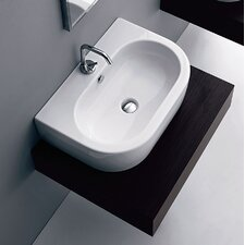 Flo Ceramic U-Shaped Vessel Bathroom Sink with Overflow