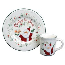 Winterberry Cookies And Milk for Santa 2 Piece Place Setting, Service for 1