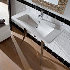 """Butterfly 36"""" Wall Mounted Bathroom Sink with Overflow"""