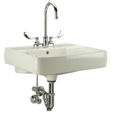 "20"" Wall Mount Bathroom Sink with Overflow"