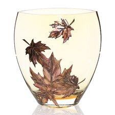 Hand Painted Glass Autumn Leaves Series II Vase