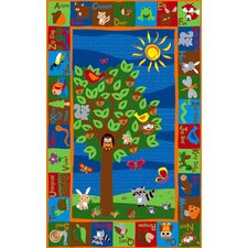 Forest Animal Alphabet Multi Colored Area Rug