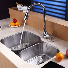 stainless steel 32 x 2075 8 piece double basin undermount kitchen sink set with - Kitchen Sink And Faucet Sets