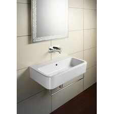 """Traccia Curved Ceramic 26"""" Bathroom Sink with Overflow"""