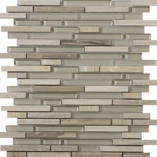 "Lucente 12"" x 13"" Glass Stone Blend Linear Mosaic Tile in Certosa"